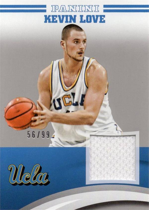 Autograph Warehouse 653708 Kevin Love Player Worn Jersey Patch Basketball Card - Ucla Bruins - 2015 Panini Team Collection Silver No.KVLUCL LE 56-99