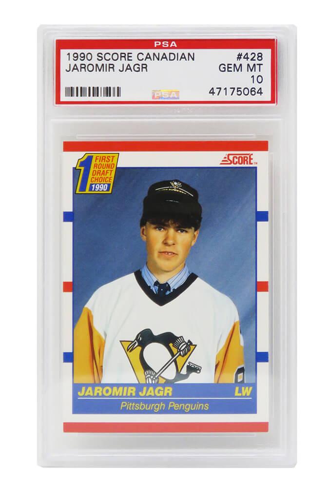 Schwartz Sports Memorabilia PS4JJ90S2 Jaromir Jagr Pittsburgh Penguins 1990 Score Canadian Hockey No.428 RC Rookie Card - PSA 10 GEM MINT Silver Label