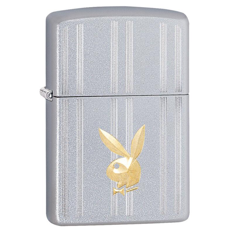 Cards Plus 29777 Playboy Bunny Head Satin Chrome Auto Two Tone Pocket Lighter