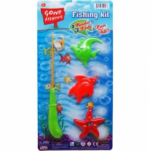 """DDI 2322373 3-Piece Assorted Color Fishing Set With 7.5"""" Rod Case of 48"""