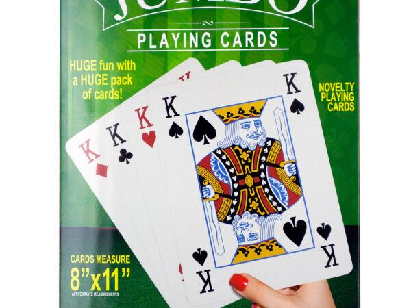 Kole Imports OS527-4 Jumbo Novelty Playing Cards, 4 Piece -Pack of 4