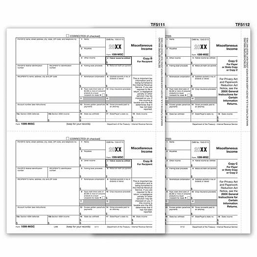 2020 Laser 1099-MISC Income Electronic Filing Set, 3-part