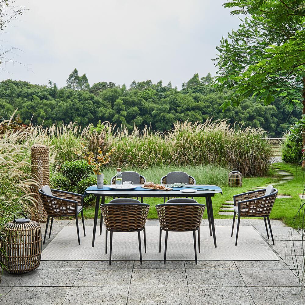 Salerno Grey 7-Piece Outdoor Garden Dining Set