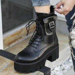 Anran Platform Chunky-Heel Lace-Up Short Boots