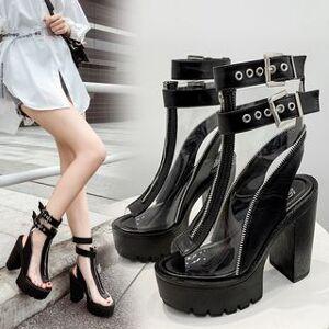 Transparent Zip Detail Platform High Heel Sandals