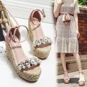 Anran Embellished Platform Wedge Sandals