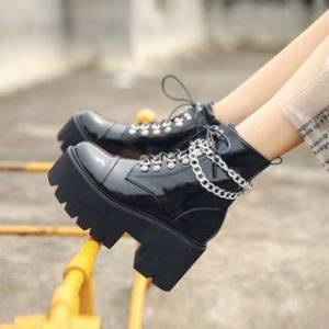 Combat Platform Boots with Chain