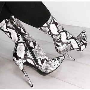 Anran High-Heel Croc Print Mid-Calf Boots