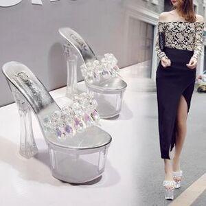 Anran Slide Transparent Chunky Heel Platform Sandals