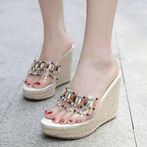 Anran Espadrille Platform Wedge Slide Sandals