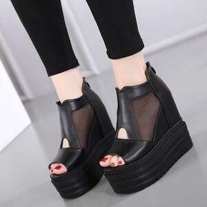 Anran Mesh Panel Platform Sandals