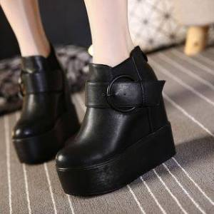 Anran Faux Leather Buckled Platform Hidden Wedge Ankle Boots