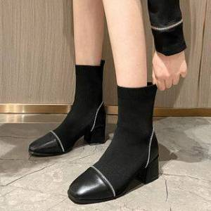 Anran Block-Heel Short Boots