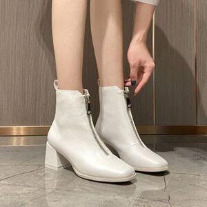 Anran Block Heel Pointed Short Boots