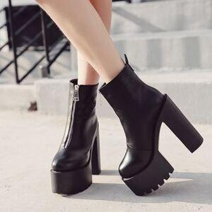 Anran Chunky Heel Platform Short Boots