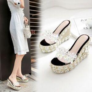 Anran Rhinestone Floral Accent Wedge Platform Sandals