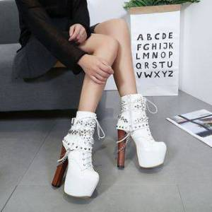 Anran Chain Detail Studded Chunky Heel Platform Lace-Up Short Boots