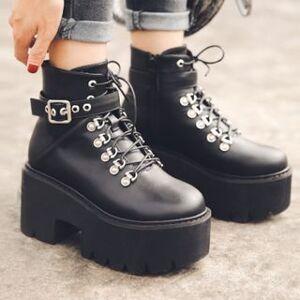 Anran Lace Up Platform Buckled Short Boots