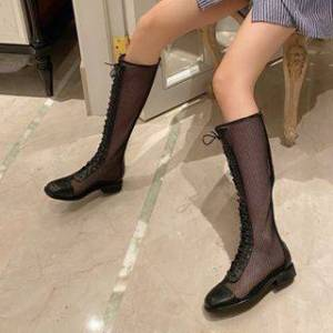 Anran Mesh Lace Up Tall Boots