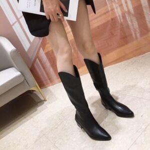 Anran Plain Block Heel Tall Boots