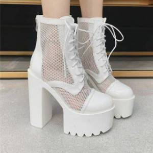 Platform Chunky Heel Lace-Up Short Boots