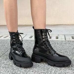 Anran Platform Lace-Up Short Boots