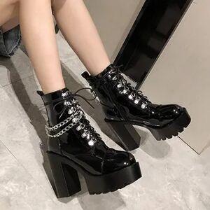 Anran Platform-Heel Lace-Up Short Boots