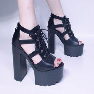 Anran Platform Chunky-Heel Lace-Up Sandals