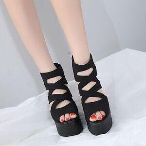 Anran Platform Back Zip Wedge Sandals