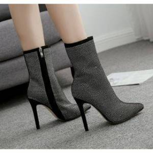 Anran Stiletto Heel Rhinestone Short Boots