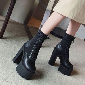 Chunky Heel Platform Short Boots