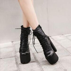 Anran Platform Block Heel Short Boots