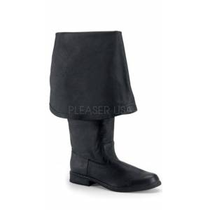 Pleaser Men's Pirate Boot with Bell Cuff by Pleaser, Black Leather (p), Size 8 - Yandy.com