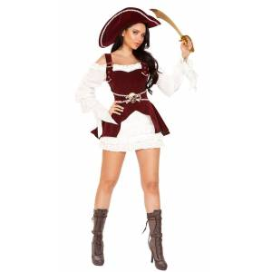 Roma Picturesque Armed Pirate Costume by Roma, White/Burgundy, Size L - Yandy.com