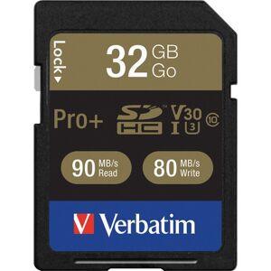 Verbatim 32GB Pro Plus 600X SDHC Memory Card, UHS-I V30 U3 Class 10