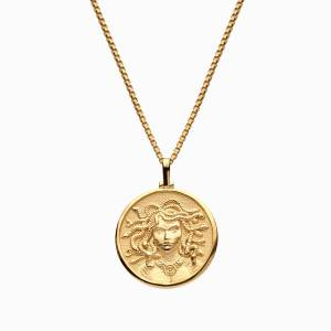 Solid 14k Yellow Gold Medusa Necklace