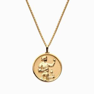 Solid 14k Yellow Gold Marie Curie Necklace
