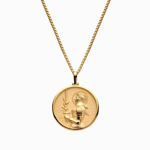 AweInspired Solid 14k Yellow Gold Joan of Arc Necklace