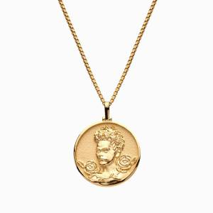 AweInspired Solid 14k Yellow Gold Frida Kahlo Necklace