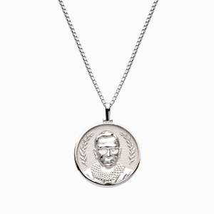 AweInspired Solid 14k White Gold Ruth Bader Ginsburg Necklace
