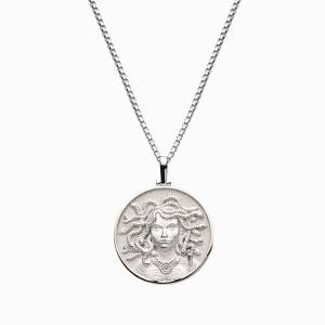 AweInspired Solid 14k White Gold Medusa Necklace
