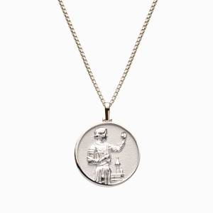 AweInspired Solid 14k White Gold Marie Curie Necklace