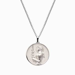 AweInspired Solid 14k White Gold Joan of Arc Necklace