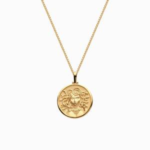 AweInspired Solid 14k Yellow Gold Mini Medusa Necklace