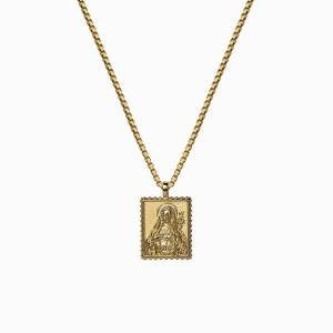 AweInspired Solid 14k Yellow Gold Mini Mother Mary Tablet Necklace