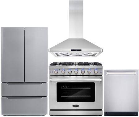 """Cosmo COS-4PKG-120 4-Piece Kitchen Appliances Package with COS-EPGR366 36"""" Freestanding Gas Range  COS-63ISS90 36"""" Island Mount Range Hood  COS-DIS6502 24"""""""