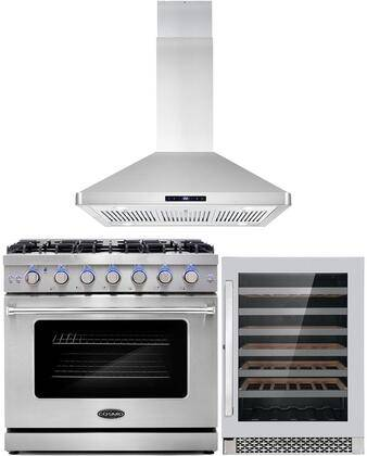 """Cosmo COS-3PKG-045 3-Piece Kitchen Appliances Package with COS-EPGR366 36"""" Freestanding Gas Range  COS-63ISS90 36"""" Island Mount Range Hood and COS-24BIWCS"""