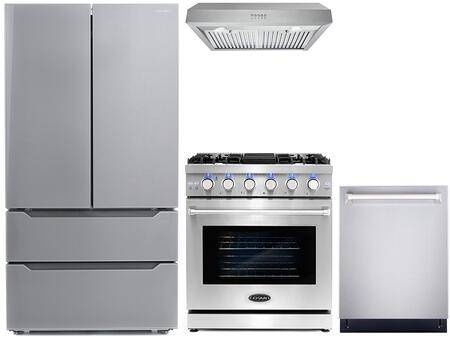 """Cosmo COS-4PKG-127 4-Piece Kitchen Appliances Package with COS-EPGR304 30"""" Freestanding Gas Range  COS-UC30 30"""" Under Cabinet Range Hood  COS-DIS6502 24"""""""
