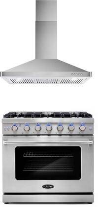 """Cosmo COS-2PKG-078 2 Piece Kitchen Appliances Package with COS-EPGR366 36"""" Freestanding Gas Range and COS-63190 36"""" Wall Mount Range Hood in Stainless"""