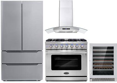 """Cosmo COS-4PKG-115 4-Piece Kitchen Appliances Package with COS-EPGR366 36"""" Freestanding Gas Range  COS-668AS900 36"""" Wall Mount Range Hood  COS-DIS6502 24"""""""